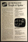 Dunjonquest: Temple of Apshai Apple II Back Cover