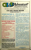 Escape from Traam Atari 8-bit Back Cover