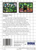 Fantasy Zone: The Maze SEGA Master System Back Cover