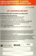 Forza Motorsport 2 (Limited Collector's Edition) Xbox 360 Other Marketplace Token Card - Back