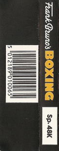 Frank Bruno's Boxing ZX Spectrum Back Cover