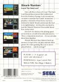 Miracle Warriors: Seal of the Dark Lord SEGA Master System Back Cover