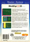 World Cup USA 94 SEGA Master System Back Cover
