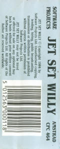 Jet Set Willy Amstrad CPC Back Cover