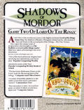 The Shadows of Mordor Commodore 64 Back Cover