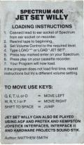 Jet Set Willy ZX Spectrum Back Cover
