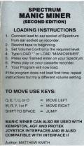Manic Miner ZX Spectrum Inside Cover