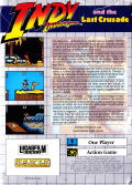 Indiana Jones and the Last Crusade: The Action Game Game Gear Back Cover