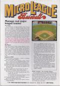 MicroLeague Baseball PC Booter Back Cover