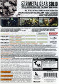 Metal Gear Solid HD Collection Xbox 360 Back Cover