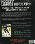 Hockey League Simulator DOS Back Cover