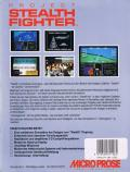 F-19 Stealth Fighter Commodore 64 Back Cover