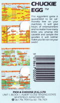 Chuckie Egg Commodore 64 Back Cover