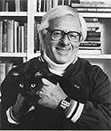 Ray Bradbury... with black cat!