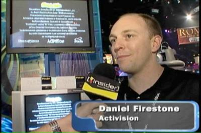 Daniel pitching Activision's games at E3 2004.