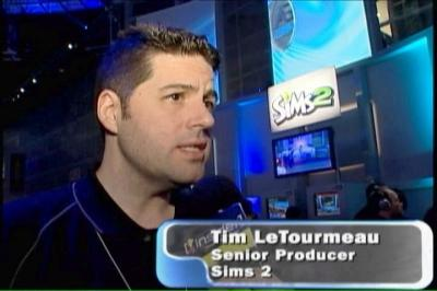 Tim discussing The Sims 2 at E3 2004 (but forgetting to mention the correct spelling of his name).