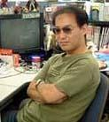 Hideaki Moriya, artist for Sonic Team, in a photo taken during development of 'Sonic Adventure.'