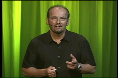 Peter speaking at the E3 2004 Xbox press conference.