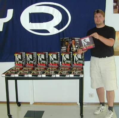 Petri showing off some Max Payne boxes at Remedy HQ (July 2001)