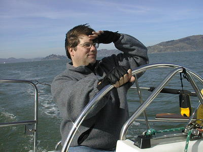 Chris on his boat in San Francisco, 2003