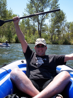 T. Ryan taking a break to float the boise river after  the E3 crunch of 2005