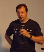 "Peter ""Skaven"" Hajba at a panel discussion in Vienna (July 2008)"