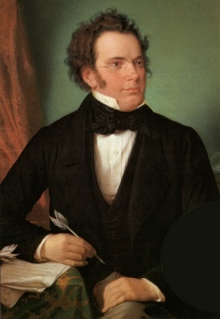 1875 oil painting by Wilhelm August Rieder after a watercolour portrait of Schubert he made 50 years earlier.