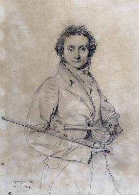 1819 drawing of Paganini by Jean Auguste Dominique Ingres