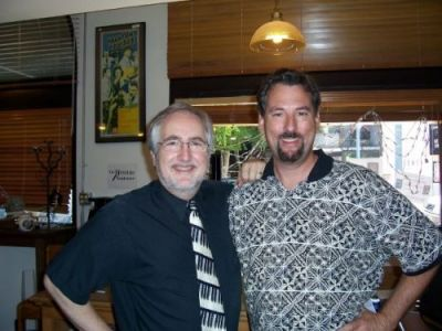 "With ""Dark Seed II"" collaborator David Mullich at The Mystery Bookstore in Los Angeles, August 9, 2008."