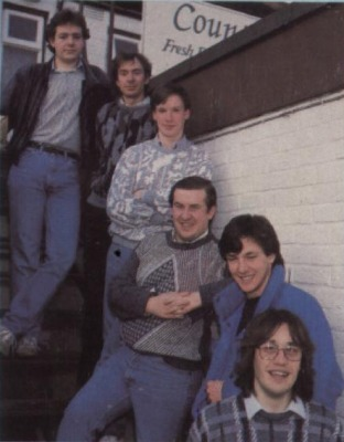 John Cummings (third to front) and the Graftgold team. Ca. 1989.The One #6, 1989/3