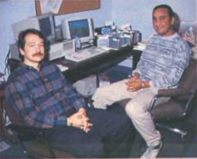 Gunship 2000 designers James Day (left) and Darrell Dennies at MicroProse headquarter ca. 1990. Source: ACE #40, 1991/1