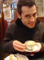 Armando Castillo sipping a latte in Florence, Italy (February 2005)