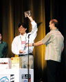 "Accepting the ""Innovation in Game Audio"" award for Anito: Defend a Land Enraged, IGF 2004"
