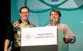 Andrew Leker (l) and Marc LeBlanc (r) accepting the Seumas McNally Grand Prize (Web/Downloadable Category) for Oasis, IGF, 2004