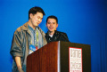 Accepting his award for Insaniquarium, IGF 2002