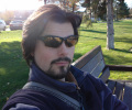 Sitting on a bench in Kelowna, BC, Canada (Fall 2005)