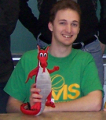 "Taken while attending SUNY Oneonta, holding the ""Red Dragon"" school mascot"