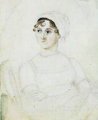 c. 1810 watercolour portrait of Jane presumedly by her sister, Cassandra.