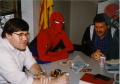 Hanging out at MicroProse Software with Bruce, Spider-Man and Russ Cooney (1990)