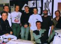 (l/r) Eric Matthews, Mike Montgomery, Tom Watson, Sean Griffiths, Robert Trevellyan, Dan Malone (sitting), Richard Joseph, and Steve Kelly (Bitmap Brothers, circa 1990)