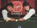 "<moby developer=""Jimmy White"">Jimmy White</moby> and Archer Maclean, ca. 1991. <small>Source: Instruction manual <i>Jimmy White's Whirlwind Snooker</i></small>"