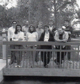 1991<br>Left to right: Bill Fisher, Arlene Caberto, Scott Bennie, Meghan Rowntree, Byon Garrabrant, Katie Fisher, Todd Camasta, Dave Nelson and Robert Barris<br><small>(source: Castles manual)</small>