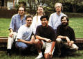 Cca. 1993 <br> Top row (left to right): Don Daglow, John Keester, David Bunnett. Front row: Jim Larsen, Mark A. Fong, Mark Buchignani<br> <small>source: <i>Mario Andretti Racing</i> manual</small>