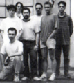 Circa 1994  Standing (left to right): Arnaud Carré, Thierry Bansront, Olivier Nicolas, Grégory Béal, Paul Tumelaire, Hervé Gaerthner  source: Shaq Fu (Genesis manual)