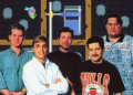 Circa 1992 <br> Left to right: Scott Patterson, Brian Greenstone, John Manley, Richard Robbins, Greg Thomas <br> <small>source: <i>Harley's Humongous Adventure</i> (manual)</small>