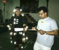 Cyrus Kanga (right) directs LAPD SWAT's Ken Thatcher during the motion capture session for SWAT 3.