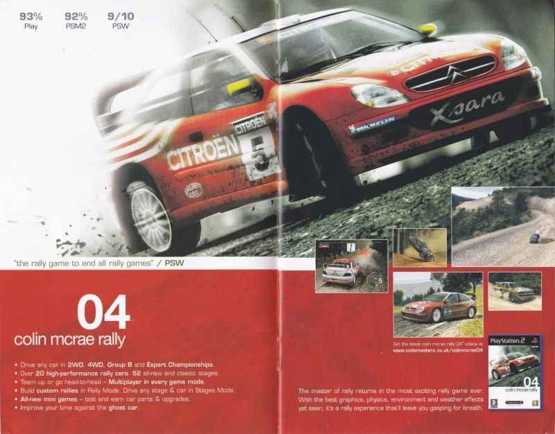 Colin McRae Rally 04 Other This was taken from a catalogue included with the PS2 game <i>Arsenal Club Football 2005 Season</i>, review scores have now been added