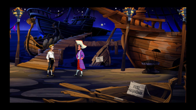 The Secret of Monkey Island: Special Edition Screenshot Guybrush talking to Stan