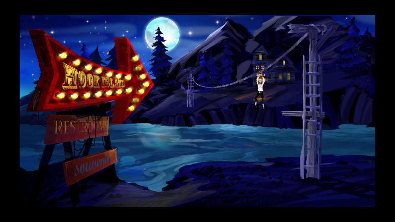 The Secret of Monkey Island: Special Edition Screenshot To Hook Isle via rubber chicken with a pulley in the middle