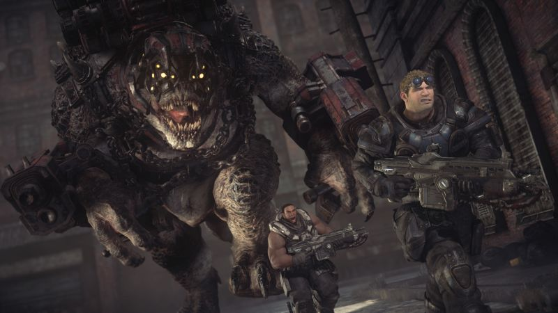 Gears of War: Ultimate Edition Screenshot Baird en Cole running from a Brumak
